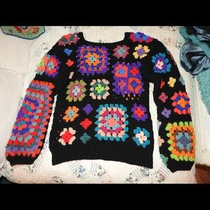 Vintage Sweaters - VTG GRANNY SQUARE CROCHET AFGHAN SWEATER